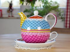 Gingham tea for one stacking teaset (teapot, cup and saucer) ,,, in patchwork of bright gingham patterns, with lace border on rim, ceramic