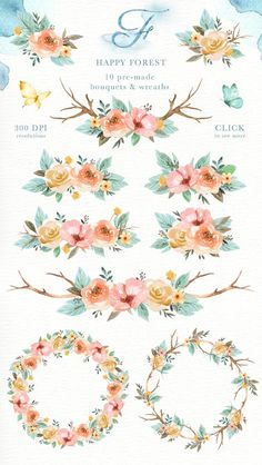Animals and Flowers Watercolor Clip Art Woodland Animals in flower crown drawing Clipart Flower Crown Drawing Happy forest Watercolor Clip Art Woodland Animals Kids Flower Crown Drawing, Flower Art, Art Flowers, Arte Floral, Watercolor Texture, Watercolor Flowers, Painting Flowers, Bird Illustration, Animal Illustrations