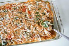 The Garden Grazer: Pizza Quinoa Casserole {Veggie Supreme} (To veganize, use vegan mozzarella style cheeze)