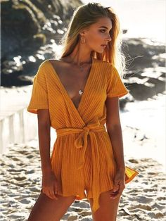 Buy Chicloth Women Knit Jumpsuit Wrap Rompers Belted V-Neck Beach Playsuit,Cheap Womens Casual Pants,Cheap Jumpsuits and Rompers. Rompers Women, Jumpsuits For Women, Beach Jumpsuits, Jumpsuits 2017, Fashion Jumpsuits, Beach Playsuit, Summer Romper, Boho Romper, Casual Jumpsuit