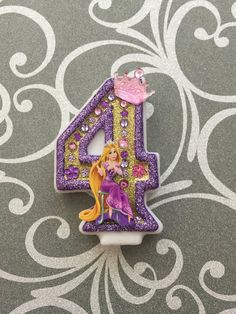 """Handcrafted """"Rapunzel"""" or ANY Themed Birthday Candles- Decorated To Your Liking Rapunzel Birthday Cake, Tangled Birthday Party, 4th Birthday Cakes, Fourth Birthday, 4th Birthday Parties, Princess Birthday, Birthday Fun, Birthday Party Decorations, Birthday Candles"""