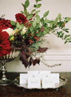 Calligraphy and florals by Abany Bauer Styling + Florals, image by Elisa Bricker. See more in the Winter 2014 issue of Weddings Unveiled: www.weddingsunveiledmagazine.com.