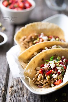 Chicken Tacos with Goat Cheese & Strawberry Salsa - An easy, weeknight dinner that is super healthy , unique and sure to please! | Foodfaithfitness.com | @FoodFaithFit