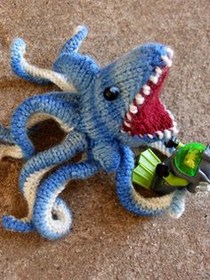 """The """"Sharktopus"""" designed and created by """"Pixieface"""".  See more of pics of this and her other projects on Ravelry.com."""