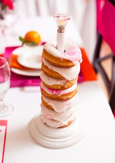 pancakes pajamas party - donuts on paper towel rod