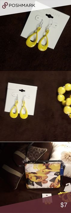 "Color brand yellow enameled infinity earrings Color brand yellow enameled infinity earrings are 2"" long from pierce hook to bottom of earring. Other items and other Jewelry also available, making a good bundle and only one shipping charge. Color Jewelry Earrings"