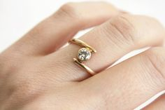 Asymmetrical Moissanite Ring in 14k Gold: Handmade Jewelry by TorchFire Studio