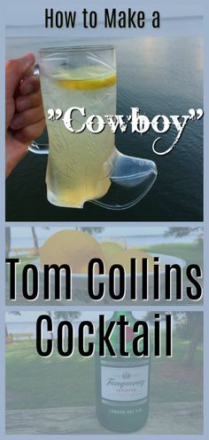 "The ""Cowboy"" Collins Cocktail is the classic Tom Collins gin drink in a cowboy boot mug! It is easy and refreshing, with or without the boot! Classic Gin Cocktails, Prosecco Cocktails, Cocktail Drinks, Gin Drink Recipes, Yummy Drinks, Tom Collins Cocktail Recipes, Gin Lemon, Cowboy Party"