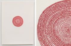 Artist: Emily Barletta ~ Untitled big circle ~ 2011 Thread on Paper ~ Paper Embroidery, Learn Embroidery, Modern Embroidery, Embroidery Stitches, Embroidery Patterns, Diy Tableau, Stitching On Paper, Bordados E Cia, Thread Art