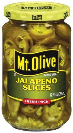 Mt Olive Jalapeno Slices 12oz Jar (Pack of 6) Mt. Olive https://www.amazon.com/dp/B00EFJ0QGK/ref=cm_sw_r_pi_dp_I4FIxb6X8RSB6
