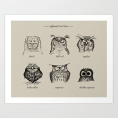 want to buy this for by my coffee maker.....  Caffeinated Owls Art Print by Dave Mottrams Store - $20.80