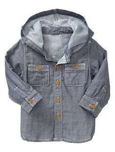 Chambray henley hoodie | Gap - 18-24 months