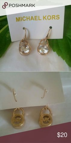 MK gold and crystal earrings MK pendant earrings gold tone with crystal       CLOSET CLEAN OUT Jewelry Earrings