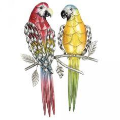 Set 4 Outdoor Metal Parrots Wall Hanging $199.95