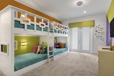 A cute and colorful shared bedroom in Florida.