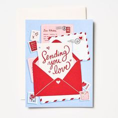 Send your long distance valentine your love with this beautiful card! This Paper Source designed card features love letter and post card illustrations. Accompanied with matching envelope. Diy Valentines Cards, Happy Valentines Day Card, Valentines Design, Valentines Greetings, Valentine Greeting Cards, Valentine's Day Greeting Cards, Vase, Making Ideas, Card Making