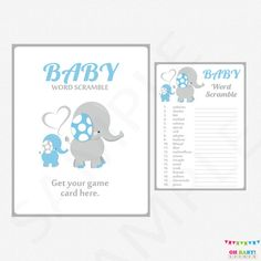 Blue Elephant Baby Shower Games Baby Word Scramble by OhBabyShower