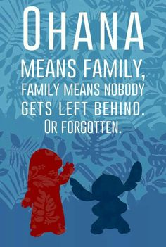 OHANA means family, FAMILY means nobody gets left behind or forgotten. -Lilo and Stich Disney Stitch, Lilo And Stitch Ohana, Disney Fun, Disney Magic, Disney Kiss, Disney Stuff, Disney And Dreamworks, Disney Pixar, World Disney