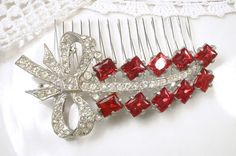 Antique Red Brooch or Bridal HAIR COMB 1920s Art by AmoreTreasure