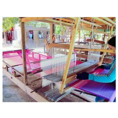 Tissus fabric in Mekong Island. Admiration for these women.