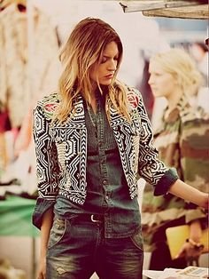 Free People Geometric Embroidered Jacket