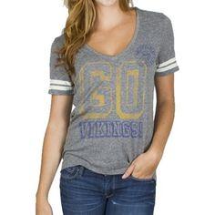 Junk Food Minnesota Vikings Ladies Tailgate V-Neck Tri-Blend T-Shirt - Ash