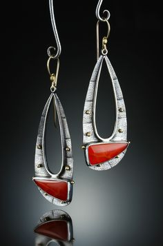 Snakeskin Carnelian Earrings. Fabricated Sterling Silver and 14k. www.amybuettner.com https://www.facebook.com/pages/Metalsmiths-Amy-Buettner-Tucker-Glasow/101876779907812?ref=hl https://www.etsy.com/people/amybuettner http://instagram.com/amybuettnertuckerglasow