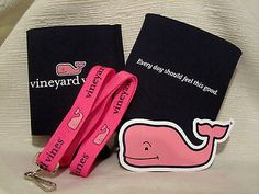 Vineyard Vines Party Pack - Lanyard, Drink Coozie & FREE Pink Whale Sticker