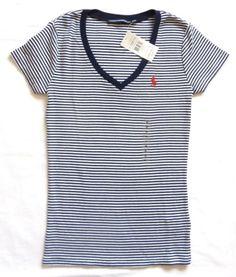 Like this shirt .  POLO-RALPH-LAUREN-WOMENS-NEW-BLUE-WHITE-STRIPED-V-NECK-TSHIRT-TEE-TOP-S-M-L
