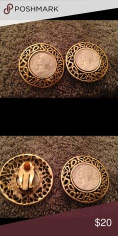Vintage Gold and Silver Coin Clip on Earrings Vintage Gold and Silver Coin Clip on Earrings 1 1/2 Inches Jewelry Earrings