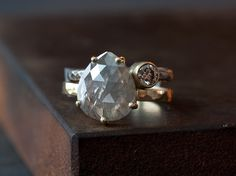 Natural SilverGrey Rose Cut Diamond Ring in 14kt Yellow by LexLuxe, $2,895.00