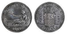 Cinco pesetas (1869) Una de las más deseadas y caras de la numismática española. Acuñada por el Gobierno Provisional, la peseta nació por decreto el 19 de octubre de 1868, pero la orden de fabricación se retrasó hasta abril de 1869. Como también se adoptó el Sistema Métrico Decimal, se crearon valores de 5, 2, 1, 0,50 y 0,20 pesetas de plata. Se acuñaron muy pocas de cinco.
