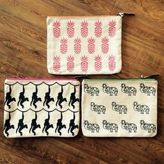 """""""These canvas clutches can be used to carry your everyday essentials or as an ipad case #canvasclutch #tlcandyou #ipadcase #elephantclutch #monkeyclutch…"""""""
