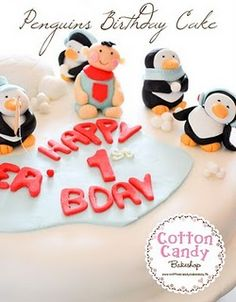 Penguin Birthday Cake & Cupcakes