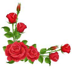Beautiful Red Rose with Green Leaf Corner Border Design for Eid Card 2016 sadiakomal