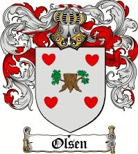 Olsen Coat of Arms / Olsen Family Crest <3 the hearts!  deep roots!