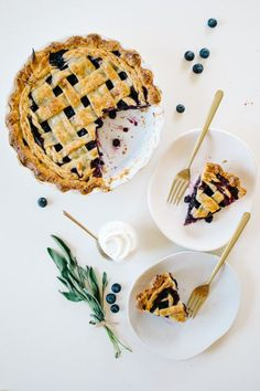 Sage Blueberry Pie with Sour Cream Vanilla Bean Crust