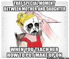 - (black metal)(corpse paint)(make up)(inverted cross)(painting) Corey Taylor, Music Humor, Music Memes, Rock Y Metal, Black Metal, Make A Girl Laugh, Metal Meme, Arte Black, Cool Slogans