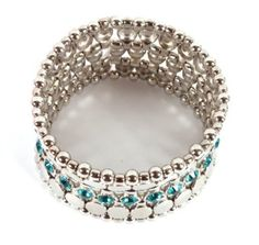 Basketball Wives Silver with Turquoise Mirror Style Stretch Bracelet with Iced Out Stones