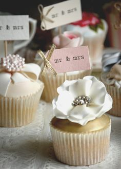 Mr & Mrs Party Picks  blush pink with gold bows  by vintagetwee, $7.75
