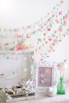 Pastel Colored Wedding 25' Garland Wedding Bridal by MaraMay - have cute frames with words written inside of it, favorite love quotes or something like that.