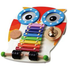 Musical Instruments for babies , Wooden Toy Musical Table with Xylophone, 2 Drums, Cymbal, Guiro and 2 Beaters - Music set for toddlers; Baby Musical Instruments Educational Wooden Toy Percussion Sound Toy Gift for Toddlers in Owl Shape Design Toddler Instruments, Wooden Musical Instruments, Music Instruments, 6 Month Toys, Baby Activity Toys, Wooden Owl, Plan Toys, Musical Toys, Learning Toys