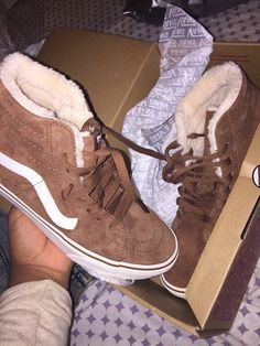shoes high top vans dope sneakers high top sneakers skater shoes trill brown sneakers brown shoes vans suede cute tennis shoes fur vans of the wall vanz