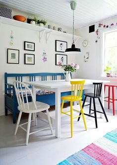 Colours, mismatched chairs, high shelves, black frames