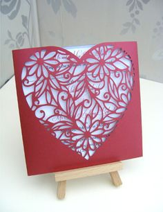 korttiin: Red Laser Cut Heart Wallet Wedding Invitation