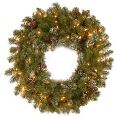 Crystal Pine Pre-Lit Wreath with 100 Clear Lights