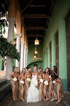 lazaro 3201 Ralph Lauren Gold Sequin bridesmaids :SO beautiful with the turquoise on the walls