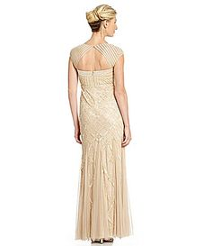 fe990aa6ea Adrianna Papell Cap-Sleeve Bead Gown