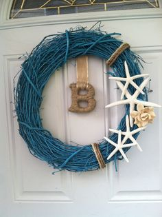 Personalized Initial Starfish Wreath by HouseOfTheBurgesses, $54.99