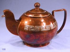 Hand Crafted Vintage Art Deco Copper Teapot with Silver Plated Inlaid Decoration